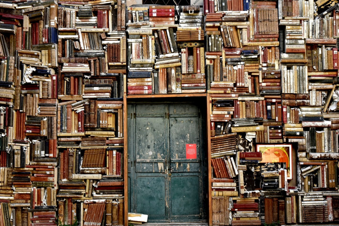 Wall of books with secret door entrance