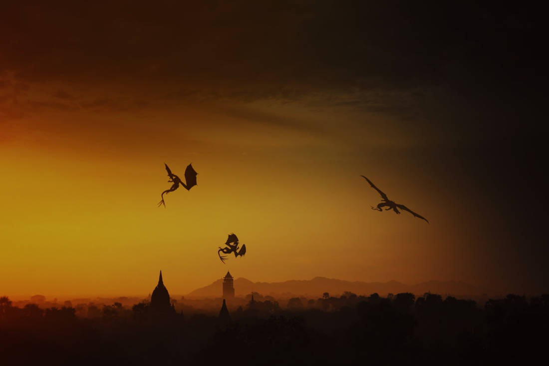 Three dragons in sunset sky flying over town