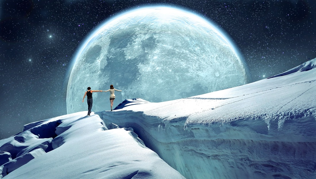 Couple of boy and girl walking along snow iceberg in space with giant moon