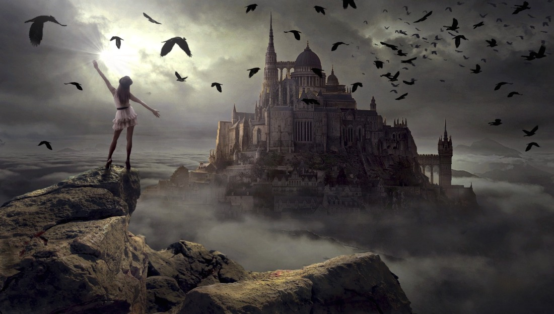 Crow birds flying at night over castle palace in cloud filled sky with magic witch girl watching