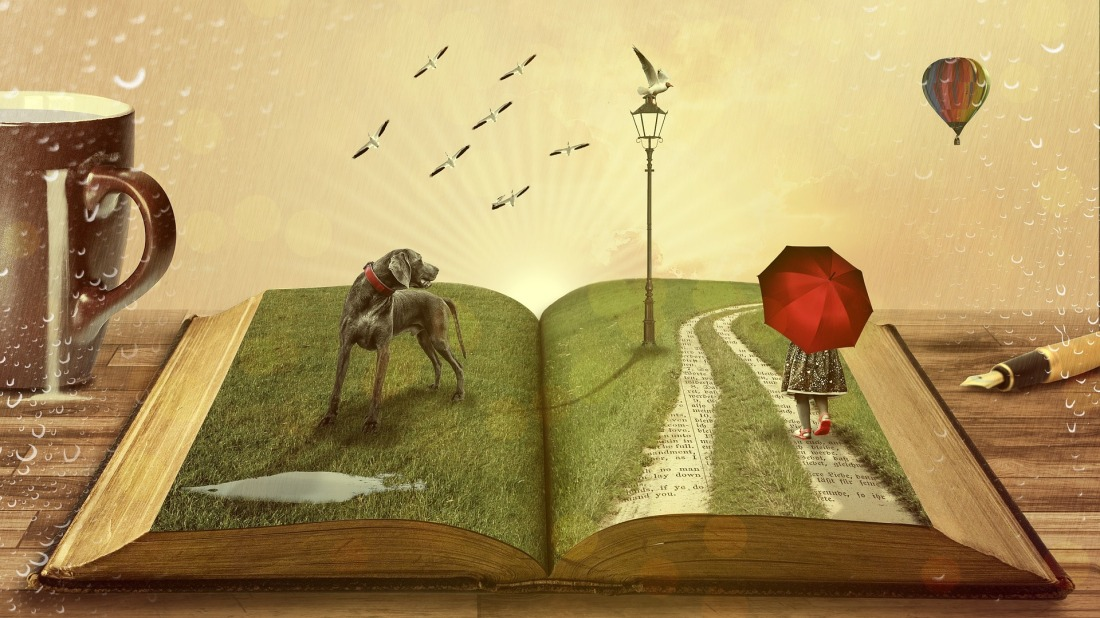 Open book with dog and girl walking on pages on desk with coffee, pen, hot air balloon and rain