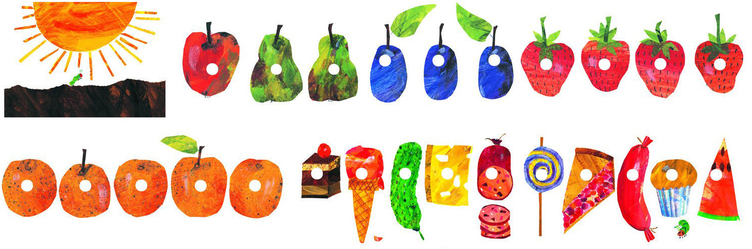 Images from the book The Very Hungry Caterpillar, picturing the collection of food the caterpillar ate his way through: an apple, two pears, three plums, four strawberries, 5 oranges, a slice of cake, an ice cream cone, a pickle, a slice of cheese, a bratwurst, a lollipop, a cherry pie slice, a sausage, a muffin and a slice of watermelon.