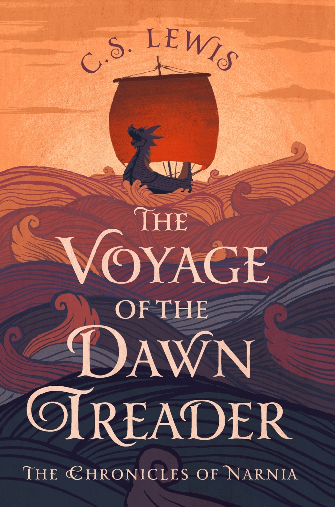 Cover of C.S. Lewis's book The Voyage of the Dawn Treader, which pictures a ship carved in the shape of a dragon, sailing on a stylised ocean.