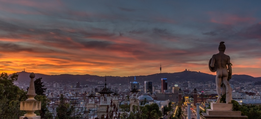 A photograph of the Barcelona skyline
