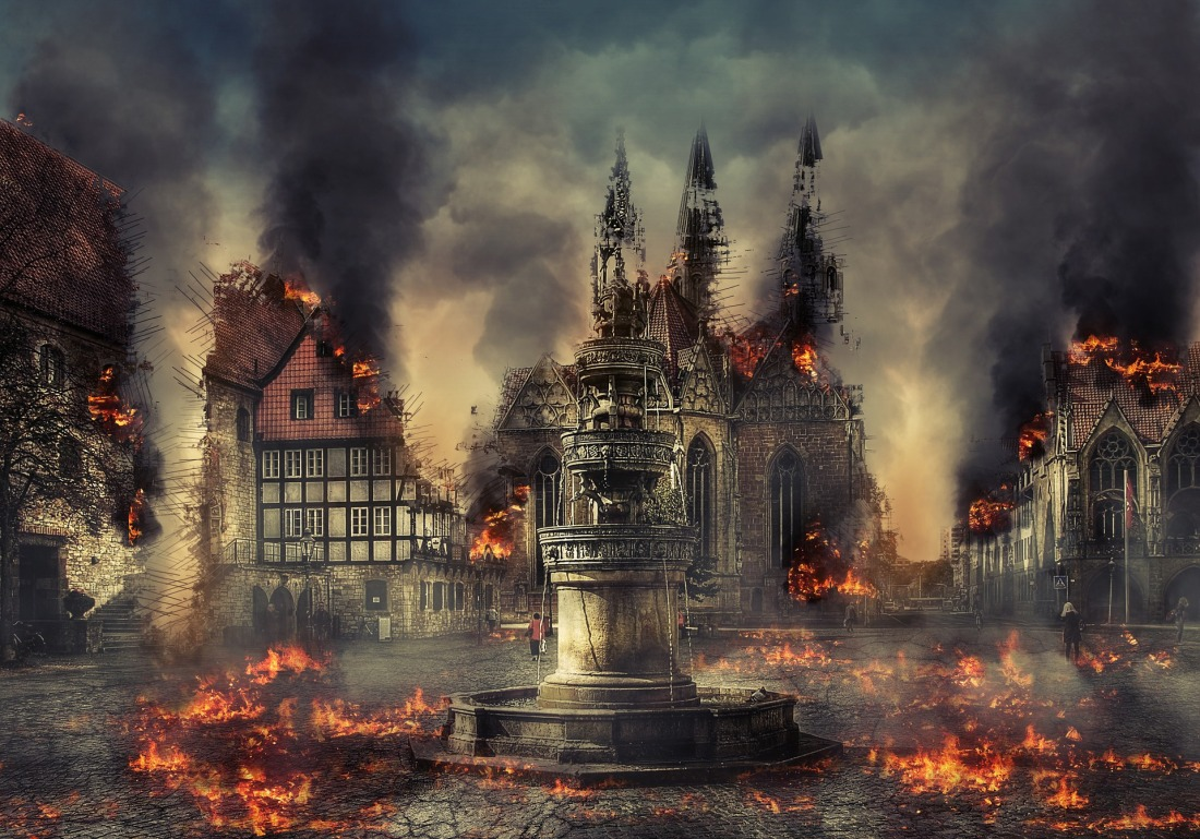 Smoke from burning old town, houses and fountain in apocalypse