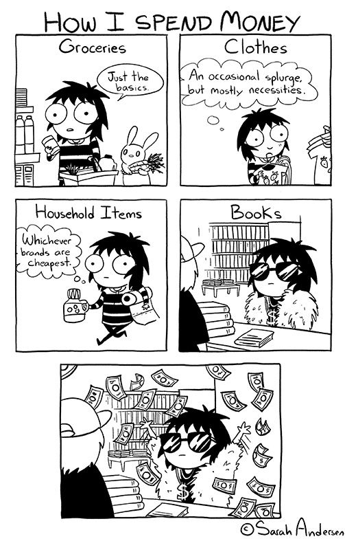 Cartoon strip of girl detailing how she spends her money - only the bare necessities for groceries, clothes, and household items and splurging on books.