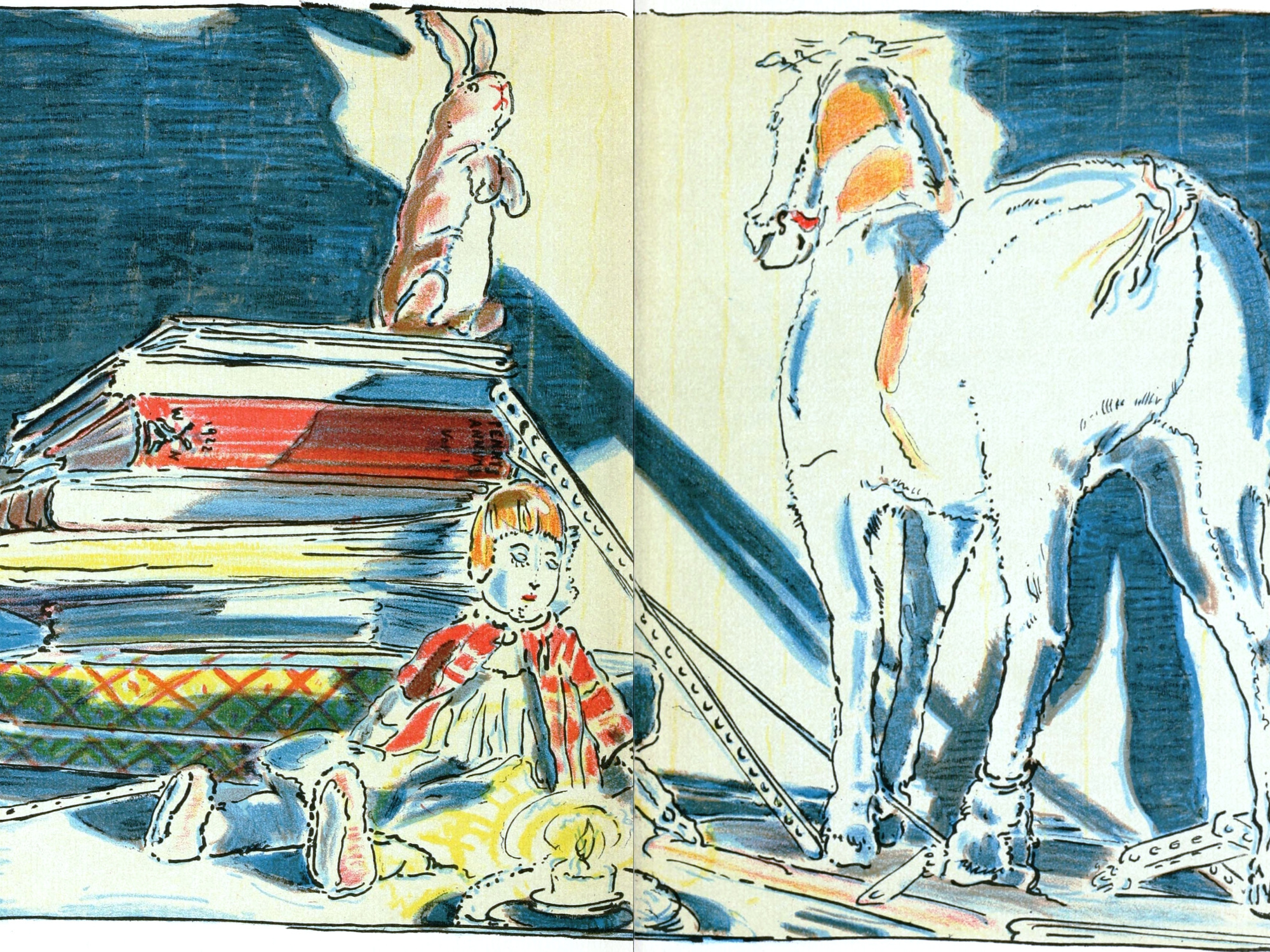 Pages from inside the book The Velveteen Rabbit, picturing the Rabbit talking to the Skin Horse.