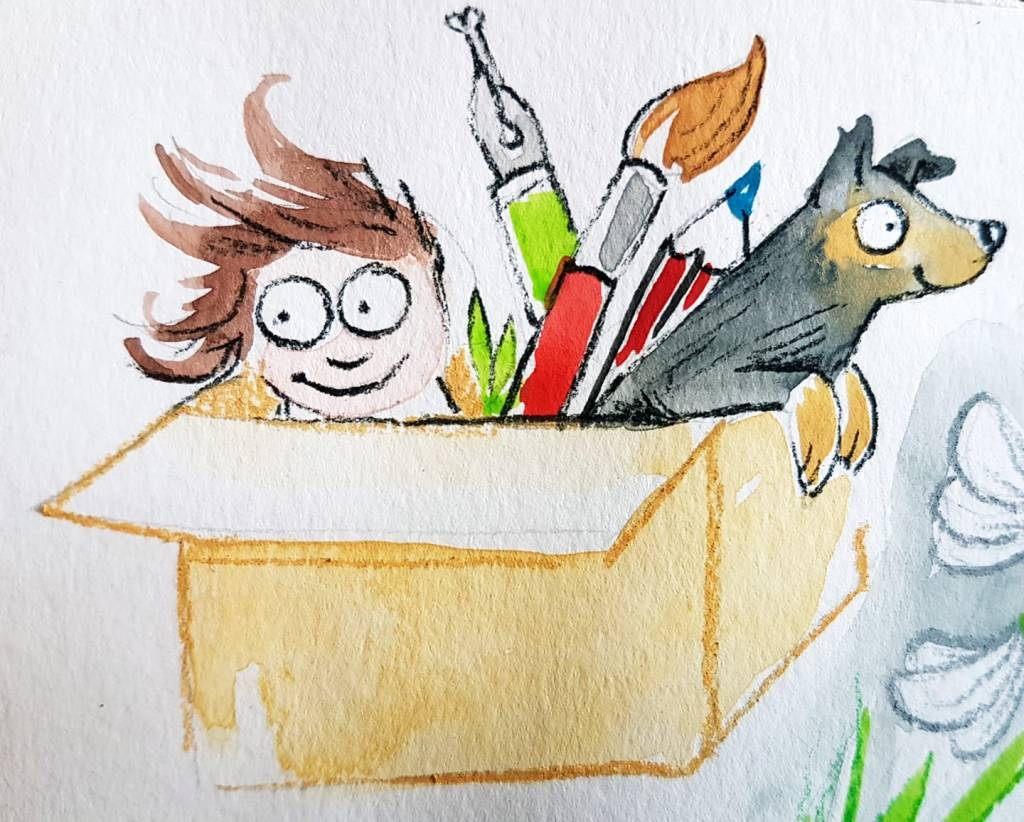 A cartoon-style full colour illustration by Tori Stowe, showing a cardboard box housing a woman with brown hair peering over the side, a black-and-brown dog looking forward and peering over the front edge of the box, and three types of stationery: a stylus, a paintbrush and a pencil.