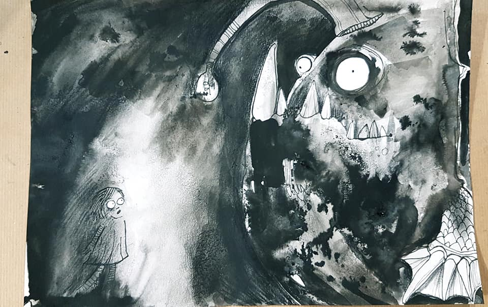 The first image in a three-part black-and-white series of illustrations by Tori Stowe. To the right of the page, a large monster resembling an anglerfish appears. It has enormous teeth and eyes as well as an esca, on the end of which appears a lightbulb. By the glow of the lightbulb, you can see a small girl in the shadows of the image, to the left of the page. Her eyes are wide and her face shows an expression of shock and fright.