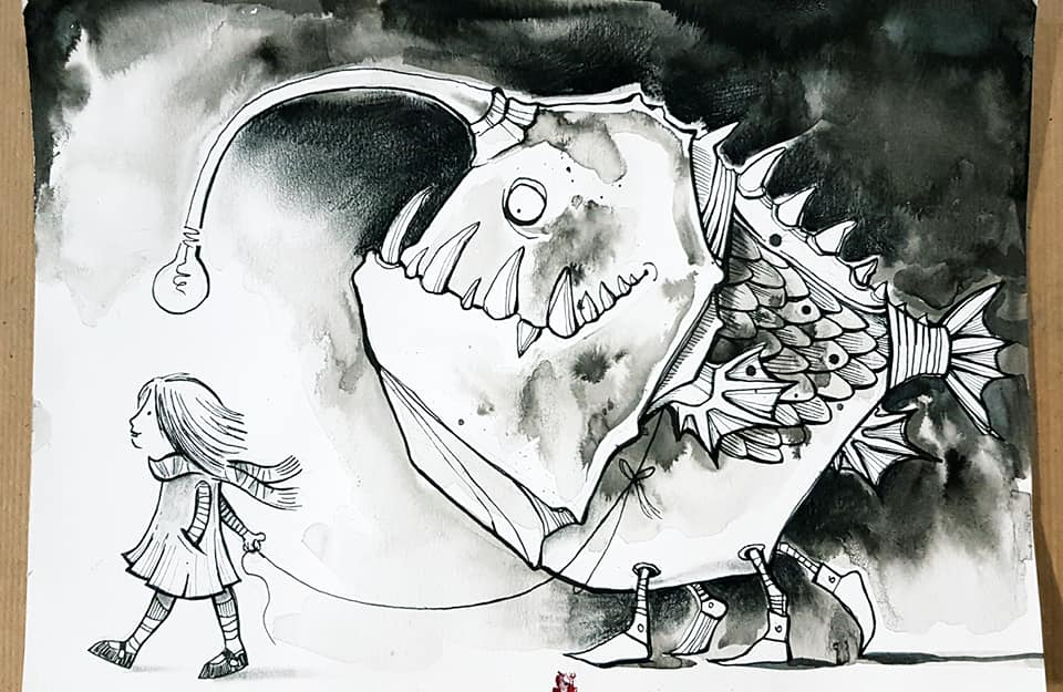 The second image in a three-part black-and-white series of illustrations by Tori Stowe. Here, the same girl from the first image appears to the left of the page, walking in that direction while holding a string. The string is wrapped around the monster from the first image, who is now fully in-frame. Its lightbulb esca appears above the girl's head and it wears an expression of obedience as it follows her.