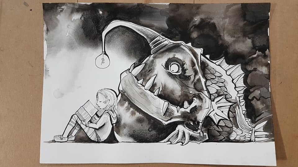 The final image in a three-part black-and-white series of illustrations by Tori Stowe. Here, the same girl from the first two images is sitting to the left of the page, her back propped up against the monster she met in the first image and led in the second, which is seated behind her. Its lightbulb still appears above her head and by its light, the girl is peacefully reading a book.