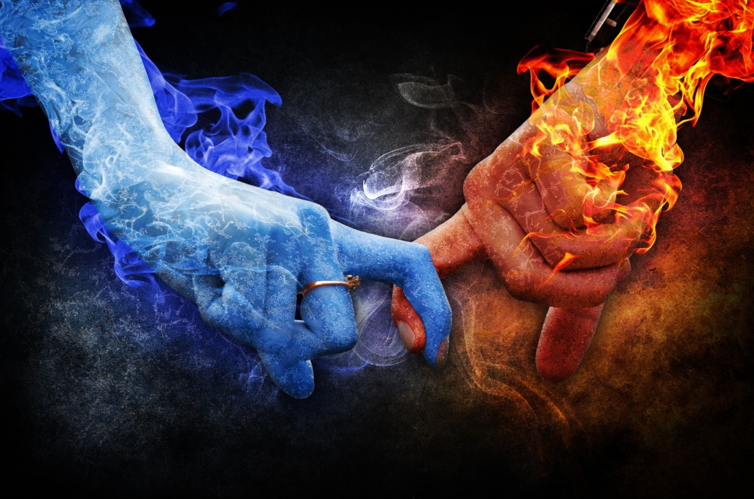 Fire and ice hands of two lovers