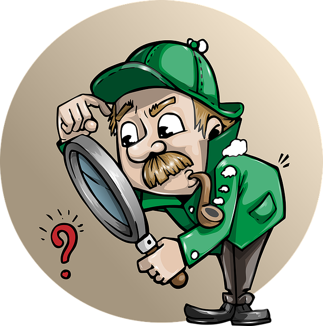 a detective man, in green coat and hat and puffing on a pipe, gazes quizzically through a magnifying glass at a question mark
