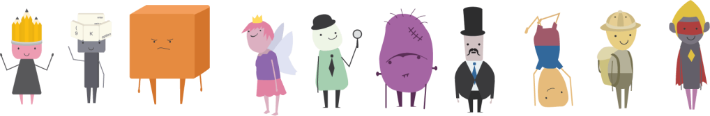 Characters created to inspire writing, made by Kendall Hotchkiss
