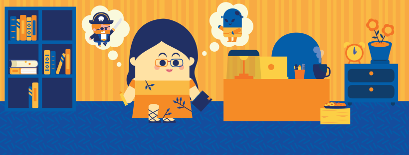 Illustration of a girl next to a desk, bookshelf and writing apparatus, imagining a pirate character and an alien character