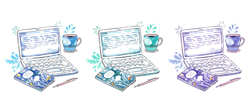 Three watercolour illustrations of a laptop, cup of coffee, notebook and pen by Evelyne Park